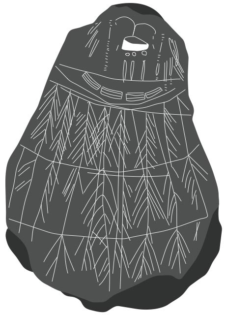 Etched pebble showing a person in a birdskin parka.